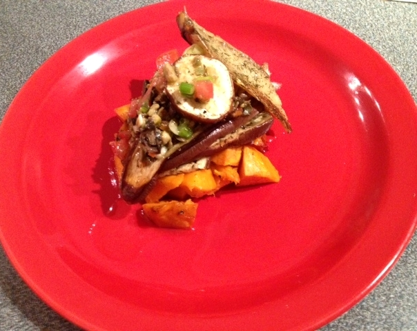 Smoked Mackerel Dill, Roasted Sweet Potatoes and Eggplant with Vierge dressing